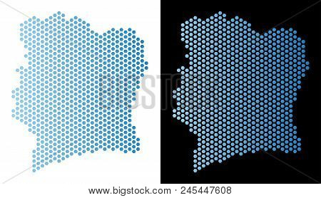 Hex Tile Ivory Coast Map. Vector Geographic Plan In Light Blue Color With Horizontal Gradient On Whi