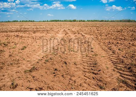 Plowed Field Prepared For Sowing. Landscape With Agricultural Land. Arable Land. Natural Background.