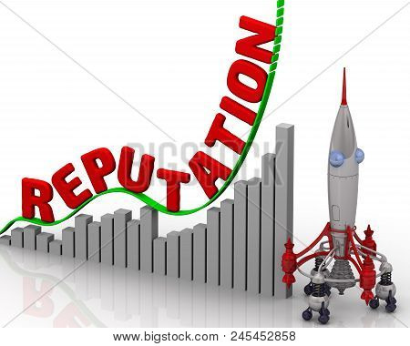 The Graph Of Reputation Growth. Graph Of Rapid Growth With Red Word Reputation And Rocket. 3d Illust
