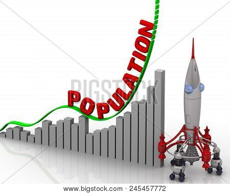 The Graph Of Population Growth. Graph Of Rapid Growth With Red Word Population And Rocket. 3d Illust
