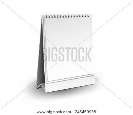 Blank Desk Calendar 3D Mockup Vector Illustration, Vertical Realistic Mockup  For Desk Calendar Temp