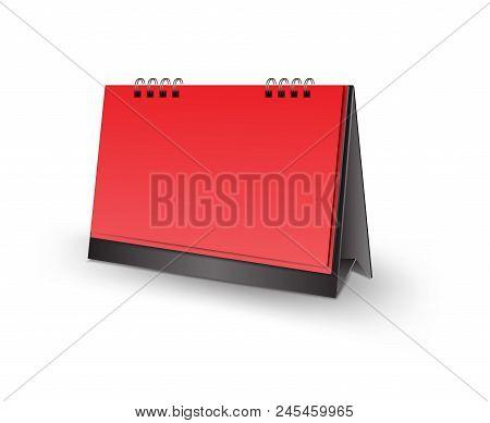 Red And Black, Blank Desk Calendar 3D Mockup Vector