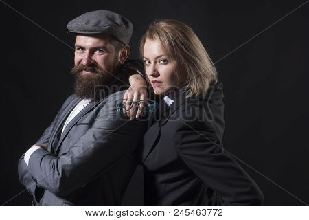 Couple Detectives Investigators Partners. Partnership Clever Intelligent Reporter Investigator. Man