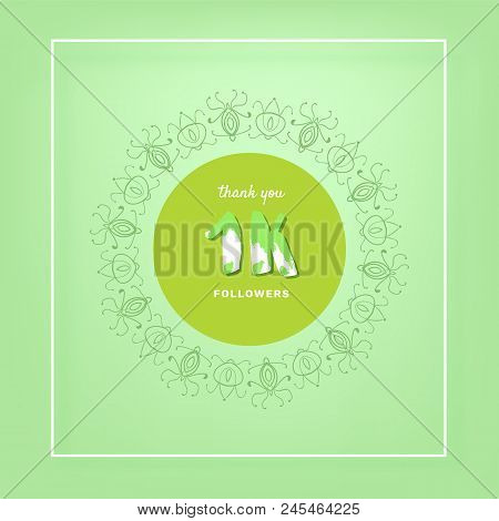 1k Followers Thank You Post With Decoration. 1000 Subscribers  Vintage Banner With Round Decorative