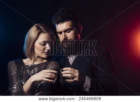 Tips For Employers About Alcohol At Company Events. Man In Suit And Fancy Lady At Corporate Party Dr