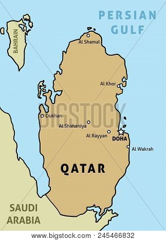 Qatar Map. Outline Illustration Country Map With Main Cities.