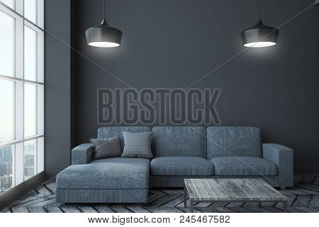 Modern Living Room Interior With Panoramic City View, Couch, Table, Lamps And Copy Space On Wall. Mo