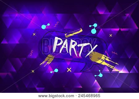 Party Banner. Horizontal Flyer For Holiday Design With Speech Bubble And Geometric Decorative Elemen
