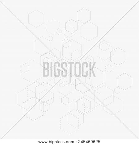 Abstract Vector Illustration With Hexagons And Lines On White Background. Hexagon Infographic. Digit