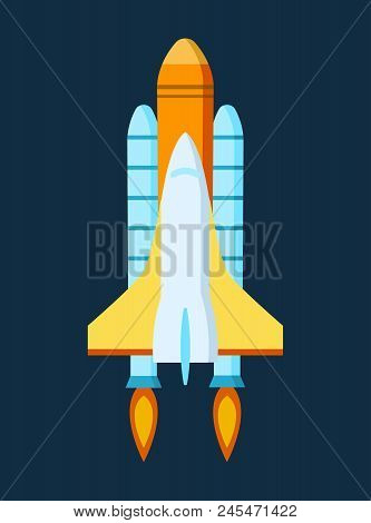 Rocket Launch. Space, Study Of Outer Space. Air Vehicle Launched From The Station. Take-off Space Sh