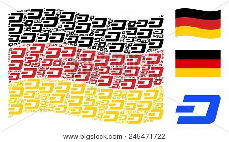 Waving German State Flag. Vector Dash Currency Icons Are Scattered Into Conceptual Germany Flag Illu