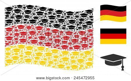 Waving German Flag. Vector Graduation Cap Items Are Organized Into Conceptual Germany Flag Abstracti