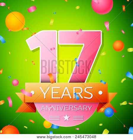 Realistic Seventeen Years Anniversary Celebration Design. Pink Numbers And Golden Ribbon, Confetti O