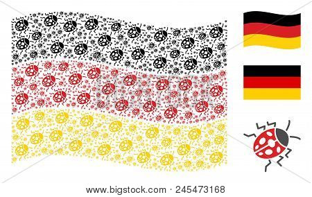 Waving Germany Official Flag. Vector Ladybird Bug Pictograms Are Formed Into Conceptual Germany Flag