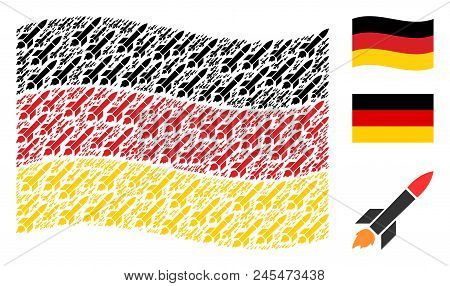 Waving German Flag. Vector Missile Launch Pictograms Are Scattered Into Conceptual German Flag Abstr
