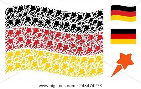 Waving Germany State Flag. Vector Starting Star Icons Are Grouped Into Geometric Germany Flag Abstra