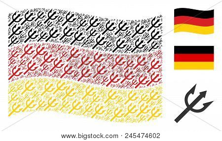 Waving German Official Flag. Vector Trident Fork Items Are Combined Into Conceptual German Flag Illu