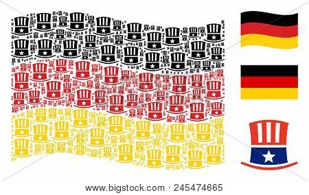 Waving Germany flag. Vector Uncle Sam hat items are organized into mosaic Germany flag illustration. Patriotic concept constructed of flat Uncle Sam hat design elements. poster