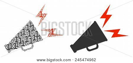 Alert Megaphone Collage Icon Of One And Zero Digits In Randomized Sizes. Vector Digit Symbols Are Co