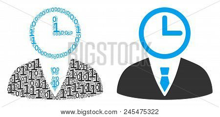 Time Manager Mosaic Icon Of Zero And One Symbols In Variable Sizes. Vector Digits Are United Into Ti