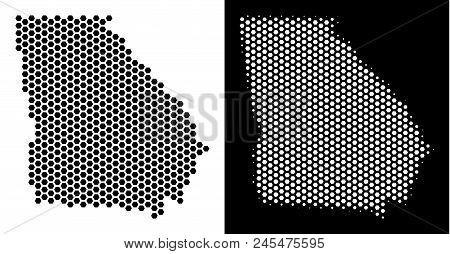 Hexagon American State Georgia Map. Vector Territory Plan In Black And White Variants. Abstract Amer