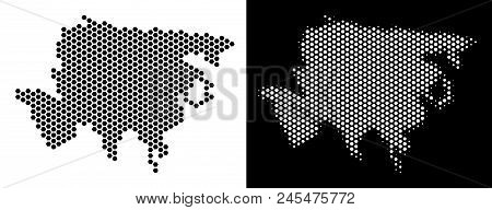 Hex Tile Asia Map. Vector Territory Plan In Black And White Variants. Abstract Asia Map Mosaic Is Co