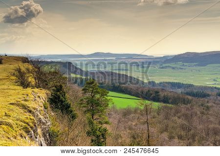 Looking South Along The Limestone Escarpment Of Scout Scar With Arnside In The Distance.