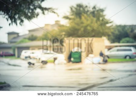 Abstract Blurred Worker Man Collecting Garbage