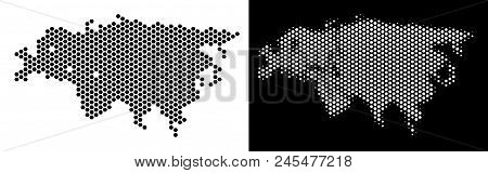 Honeycomb Europe And Asia Map. Vector Territory Plan In Black And White Variants. Abstract Europe An