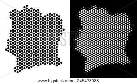 Hexagon Ivory Coast Map. Vector Geographic Plan In Black And White Variants. Abstract Ivory Coast Ma