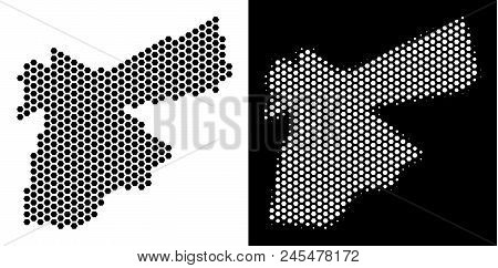 Hex-tile Jordan Map. Vector Geographic Plan In Black And White Versions. Abstract Jordan Map Composi
