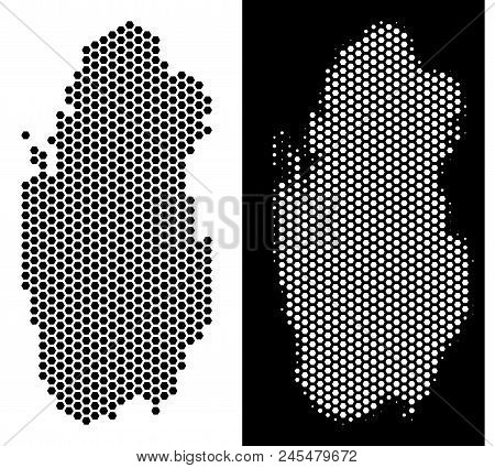 Hexagonal Qatar Map. Vector Geographic Plan In Black And White Versions. Abstract Qatar Map Composit