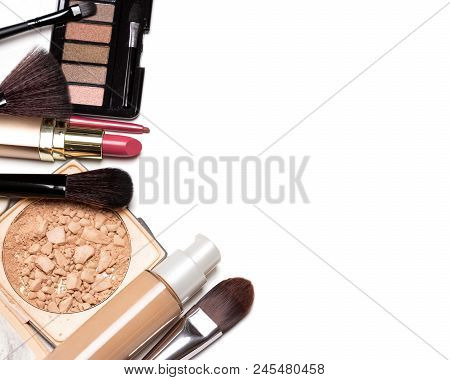 Make-up Cosmetics Background With Free Space For Text. Beauty Products For Casual Everyday Makeup On