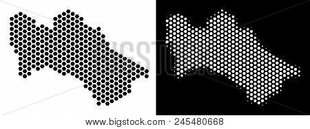 Hexagonal Turkmenistan Map. Vector Territory Plan In Black And White Versions. Abstract Turkmenistan