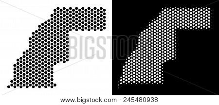 Hexagon Western Sahara Map. Vector Territory Scheme In Black And White Versions. Abstract Western Sa