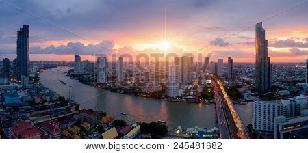 Aerial View Of Bangkok Modern Office Buildings, Condominium, Living Place In Bangkok City Downtown W