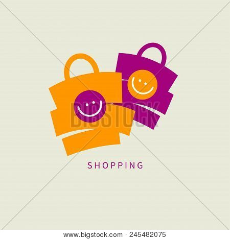 Icon Shopping, Two Bags Smile, Logo E Commerce, Online Sales, Shopping. Vector Illustration