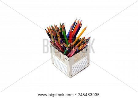 recycle floppy disk, Creative objects used for obsolete furniture. - Developed a color pencil box, concept recycle floppy disk, isolate white background poster