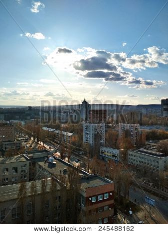 Saratov, Russia. Top View Of Cityscape. Urban Landscape. Fantastic Sunny Sky With Clouds At Sunset.
