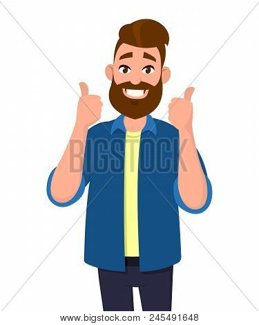 Young Man Showing Thumbs Up Gesture Or Sign. Vector Illustration In Cartoon Style.