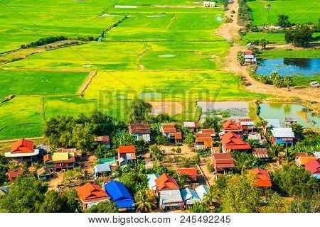 Floating village Phnom Krom, green rice fields in Tonle Sap, Siem Reap, Cambodia poster