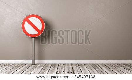 Denied Road Sign On Wooden Floor Against Grey Wall With Copyspace 3d Illustration