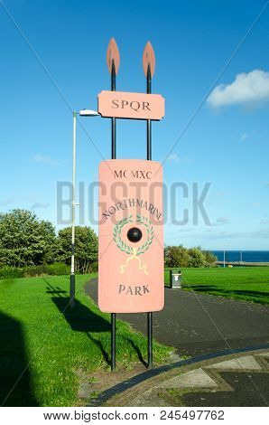 Signpost Marking The Entrance To North Marine Park, Lawe Road, South Shields