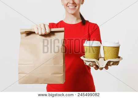 Woman In Red Cap, T-shirt Giving Fast Food Order Isolated On White Background. Female Courier Holdin