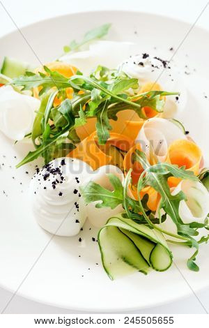 spring salad on white plate