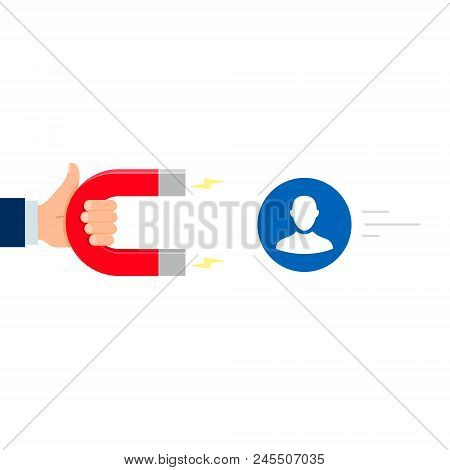 Hand With Magnet Attract Customer People Employee, Human Resources Or Workers. Vector Illustration.