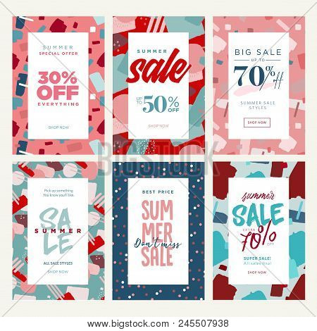 Set Of Mobile Ads And Posters. Summer Sale Banners. Vector Illustrations Concept For Online Shopping
