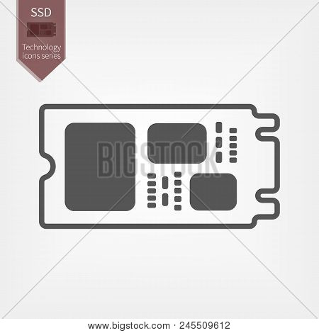 M.2 Solid State Drive in flat design. SSD isolated gray sign poster