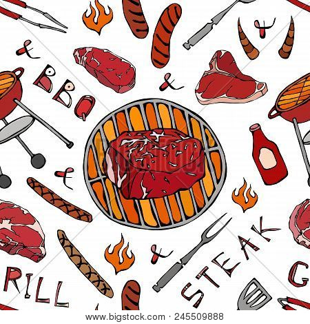 Seamless Pattern Of Summer Bbq Grill Party. Big Filet Mignon Steak, Sausage, Barbeque Grid, Tongs, F