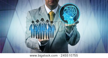 Unrecognizable Male Business Manager Raising Artificial Intelligence Above A Work Team. Technology C